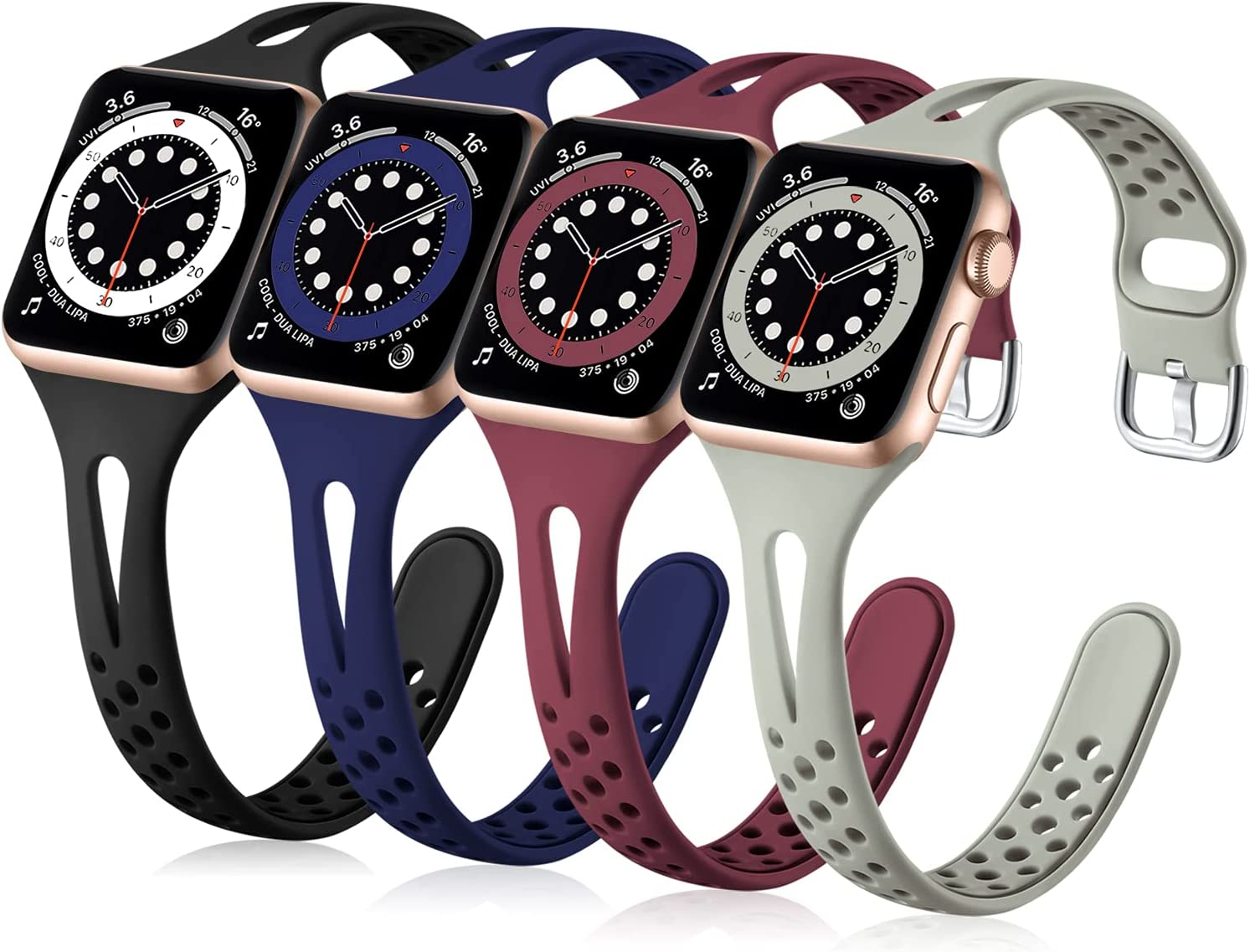 Getino Compatible with Apple Watch Band 40mm 38mm 41mm iWatch Bands Series 7 SE 6 5 4 3 2 1 for Women Men, Flexible Durable and Breathable Narrow Slim Replacement Sport Bands, Black/ Navy/ Wine/ Gray