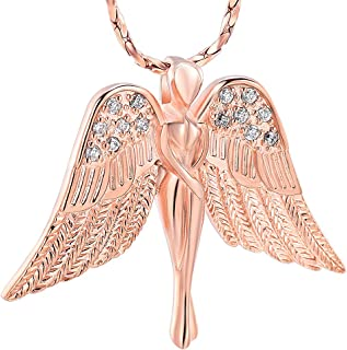 Imrsanl Cremation Jewelry with Angel Lady Charm Locket Memorial Ash Pendant - Urn Necklace for Ashes Wings Keepsake Jewelry for Women Girls