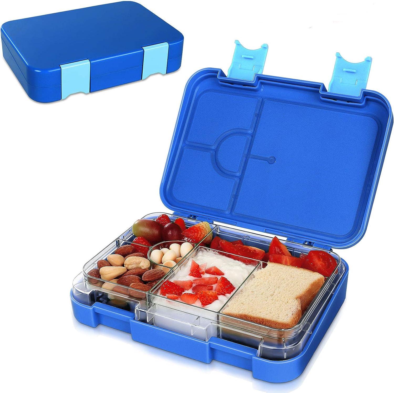 SPRIME Fiambrera hermética para Comida fiambrera infantil Bento Box Jardín de infancia con 4+2 compartimentos Fiambreras Lunch Box sin BPA apta para microondas, lavavajillas (azul)