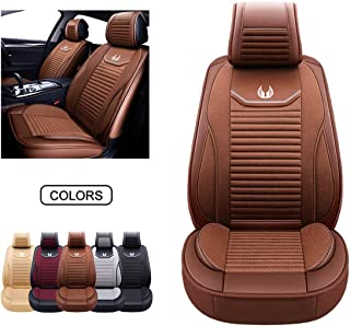 Coopers of Stortford Universal Brown Leather Car Seat Cover with Raised Lumbar Seat