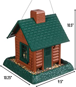 North States Village Collection Log Cabin Birdfeeder: Easy Fill and Clean. Squirrel Proof Hanging Cable included, or Pole Mount (pole sold separately). Large, 5 pound Seed Capacity (9.5 x 10.25 x 10.5, Brown)