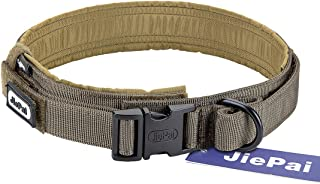 JIEPAI Tactical Dog Collar Military Training Nylon Adjustable Dog Collar with Control Handle for Medium Large Dogs