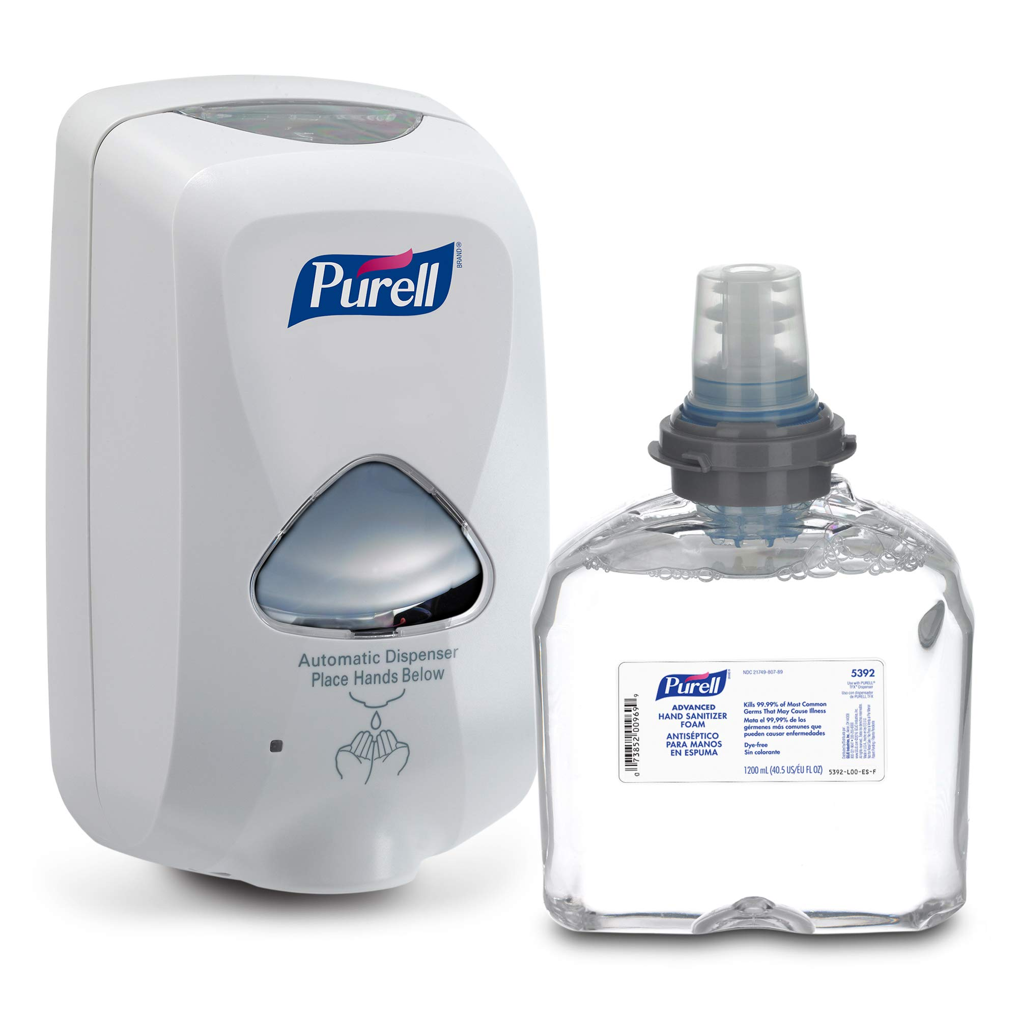 퓨렐 TFX 손세정제 자동 디스펜서, 리필용 손세정제 세트 PURELL Advanced Hand Sanitizer Foam TFX Starter Kit, 1 - 1200 mL Foam Hand Sanitizer Refill + 1 - PURELL TFX Dove Grey Touch-Free Dispenser – 5392-D1