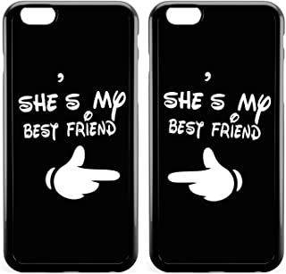 BFF Best Friends Carton Girls She's My Best Friend Forever Sisters Girlfriend Friendship Cousins Matching Cute Funny Stuff for Teen Girl Couple Black Soft Cases for Teen Girls for iPhone 8&iPhone 6