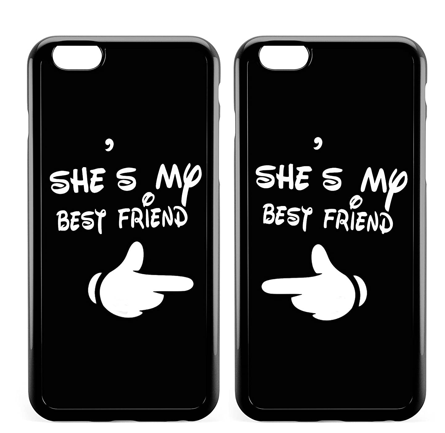 Carton Funny Cute Girls Best Friend Forever BFF Stuff Matching Cases for Teen Girls for iPhone 8 Plus(iPhone 7 Plus),Funny She's My Best Girlfriend Couple Black Soft Cases for Teen for iPhone 7 Plus