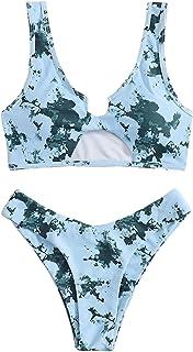 SweatyRocks Women's Scoop Neck Tie Dye Crop Top High Waisted Cheeky Bikini Set