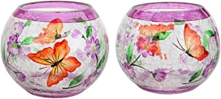 Home-X - Hand Painted Blossoms and Butterflies Candleholders (Set of 2), Crackle Glass Candle Holder Design is Elegant, Crafted by Hand, and The Perfect Centerpiece in Any Home
