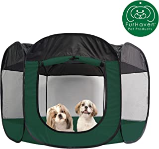 Furhaven Pet Playpen | Indoor/Outdoor Mesh Open-Air Playpen & Exercise Pen Tent House Playground for Dogs & Cats, Hunter Green, Extra Large