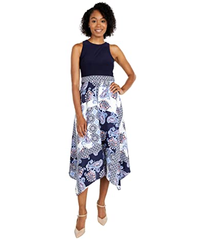 Vince Camuto Printed Crepe De Chine and Jersey Twofer Midi with Handkerchief Hem (Ivory/Navy) Women