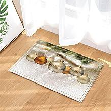 Christmas Decor, Christmas Balls Tied to Green Pine Needles Leaf Bath Rugs, Non-Slip Doormat Floor Entryways Indoor Front ...