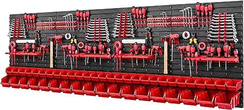 Gereedschapswand stapelboxen - 2304 x 780 mm - opslagsysteem SET gereedschapshouders en 46 rode dozen - wandrek werkplaats...