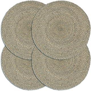 HUANGFINPI Couleur : Gris Linge de Table Napperons 4 pcs Gris Plain 38 cm Rond Jute