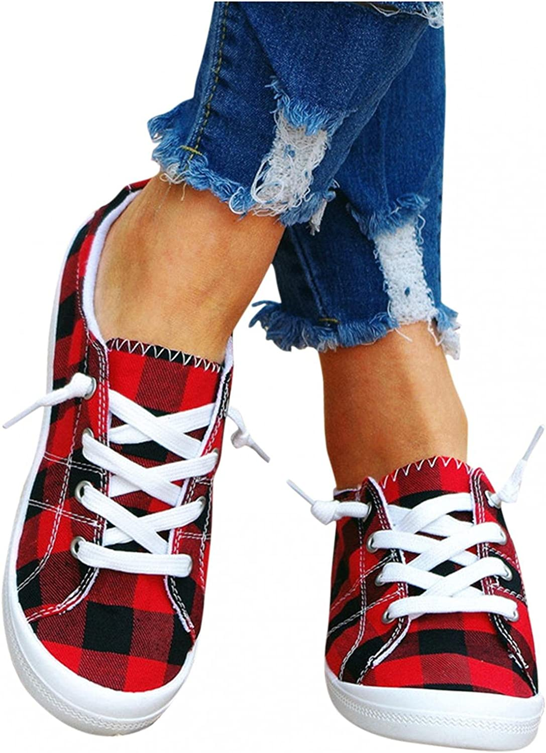 Choice Selling Hbeylia Canvas Shoes For Women Fashion Low Casual Lace Up Plaid