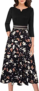 VFSHOW Womens Elegant Pockets Work Business Office Casual A-Line Midi Dress
