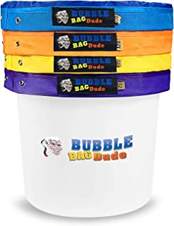 """BUBBLEBAGDUDE Bubble Bags 5 Gallon 4 Bag Set Herbal Ice Essence Extraction Bag Kit with 10 x 10"""" (25 Micron) Pressing Screen and Storage Bag"""