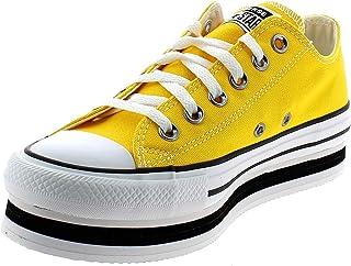 Converse Chuck Taylor All Star Platform Layer Bottom Ox Chaussures DE Sport pour Femme Jaune 567998C