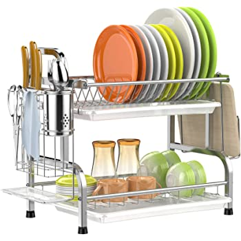 GSlife Dish Drying Rack, Rustproof 2 Tier Dish Rack with Drainboard Stainless Steel Utensil Holder Dish Drainer for Kitchen Counter, Silver
