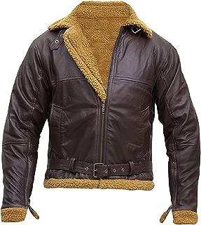 KAAZEE Men's Aviator B3 Ginger Shearling Sheepskin Leather Flying Bomber Jacket