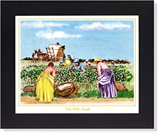 African American The Old South Cotton Pickers Wall Picture Framed Art Print