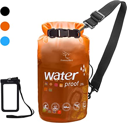 FrenzyBird Transparent Waterproof Dry Bag 10L/20L- Floating Dry Gear Bags for Kayaking, Beach, Rafting, Boating, Hiking, Camping and Fishing with IPX8 Waterproof Phone Case