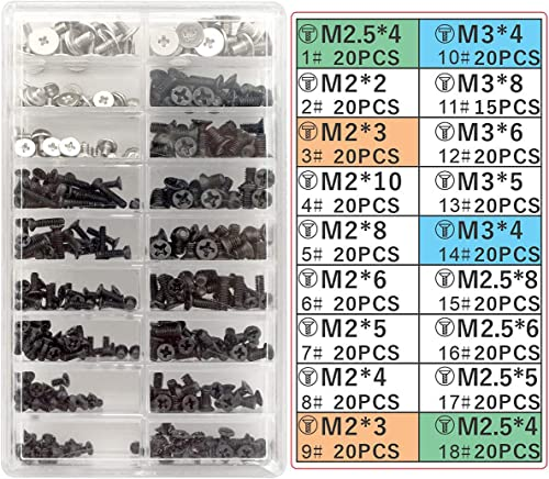 Akuoly 355 Pièces Kit de vis pour Ordinateur Portable Universel et Disque Dur M.2 SSD, M2 M3 M2.5, Noir