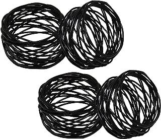 SKAVIJ Metal Mesh Napkin Rings Set for Dining Table Decoration (Dia-2 Inch, Pack of 4, Black)