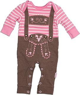 Eisenherz Baby Strampler rosa Langarm mit Druckverschluss im Schritt Lederhose mit Hosenträgerapplikation in verschiedenen Größen - fescher Trachtenlook