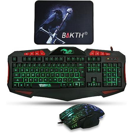 BAKTH Ajustable de 7 colores LED Retroiluminación USB con cable juegos de Teclado y Ratón Set Combos Bundle + Estera grande del ratón