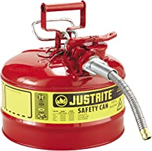 Justrite 7250120 AccuFlow 2.5 Gallon, 11.75 in OD x 17.50 in H Galvanized Steel Type II Red Safety Can with 5/8 in Flexible Spout