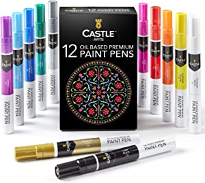 Pennarelli paint marker Castle Art Supplies - 12 marker a base di olio con colori accesi. Colorano su pietra, metallo, legno, vetro e altri materiali. Resistenti agli agenti atmosferici e non tossici
