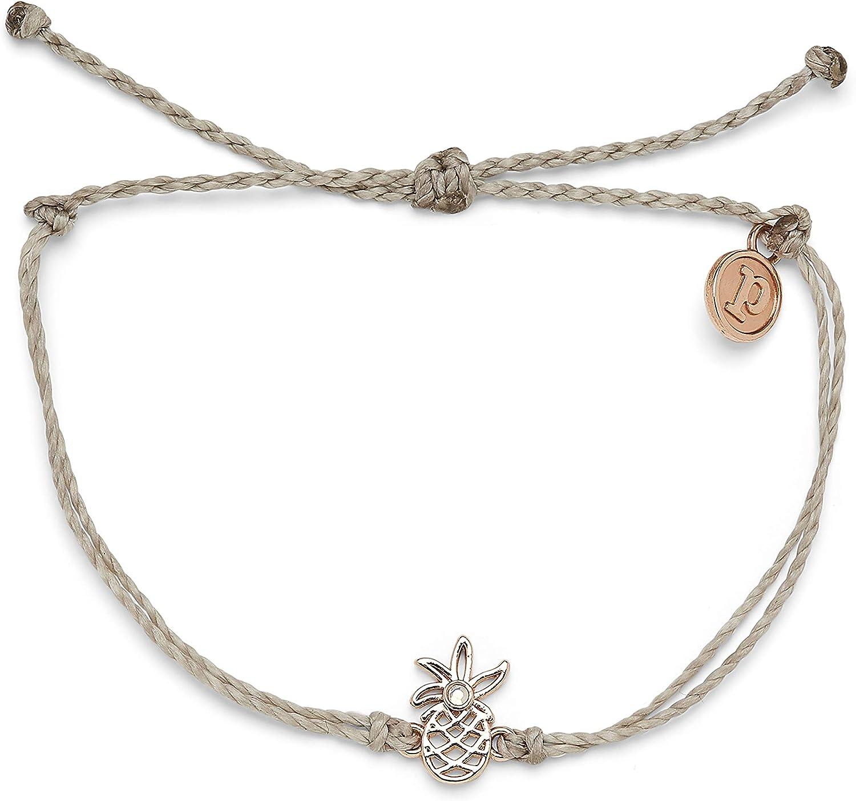 Pura Vida Silver or Rose Gold Open Pineapple Bracelet - 100% Waterproof, Adjustable Band - Plated Brand Charm