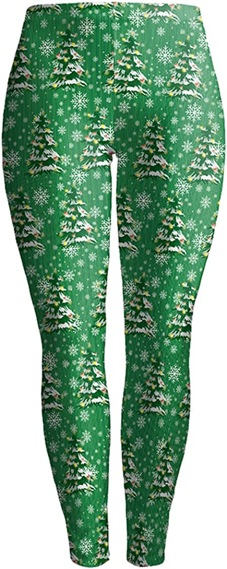 Pink Queen Womens Christmas Santa Claus Print Leggings Stretchy Tights