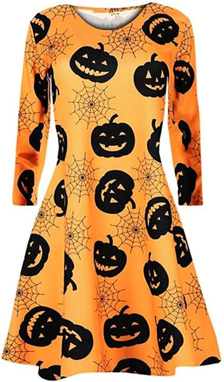 Womens Funny Cartoon Pumpkin Print Midi Dress Halloween O Neck Long Sleeves Prom Costume Dresses Casual Dress