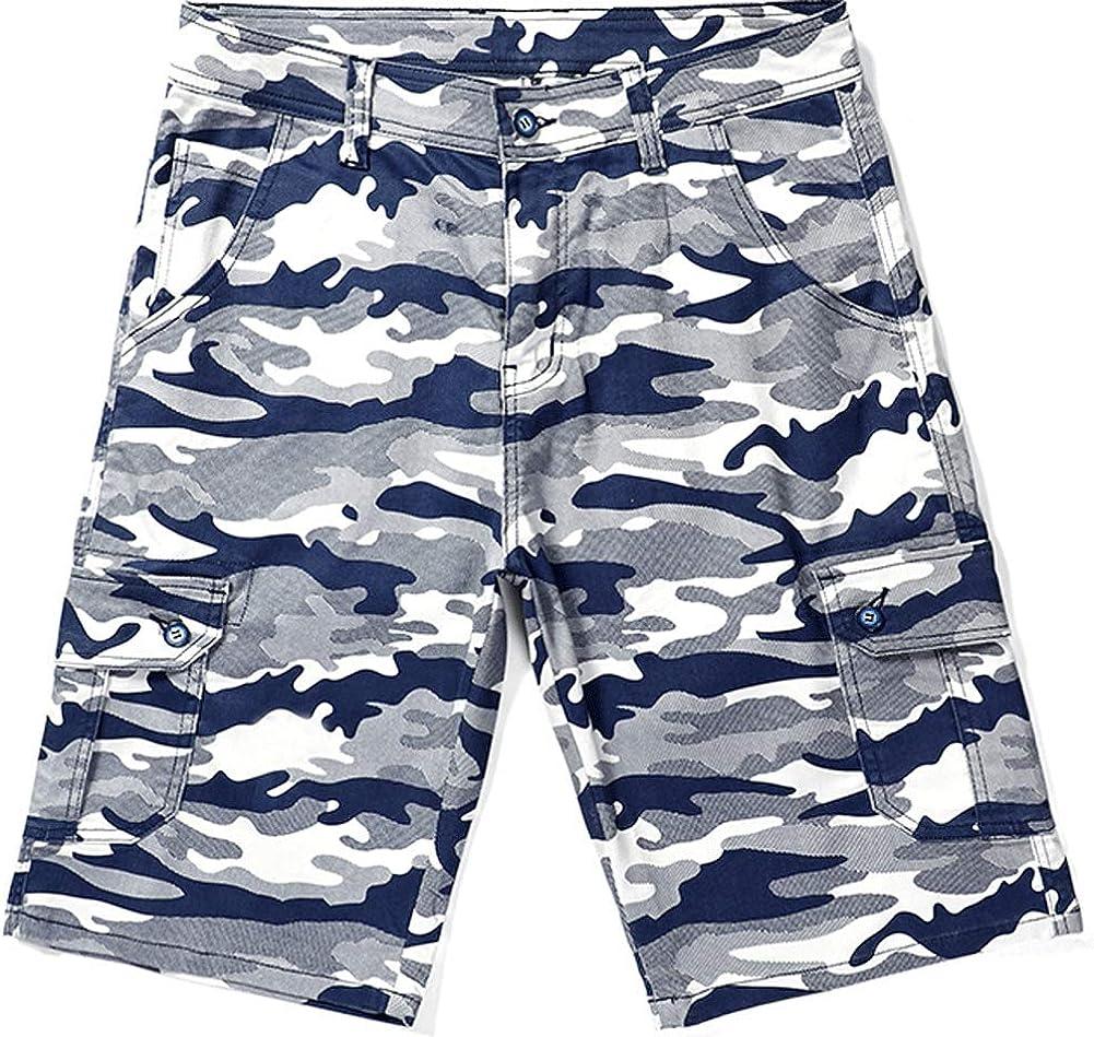 chouyatou Men's Sports Camo Print Loose Fit Multi Pocket Tactical Cargo Shorts