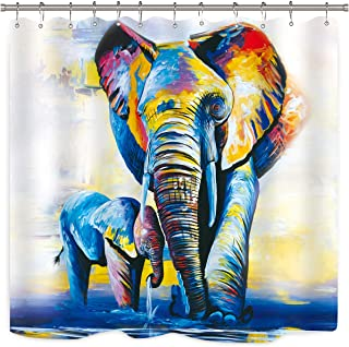 Oil Painting Elephants Shower Curtain Colorful Artwork African Family Baby Animal Abstract Vintage Bathroom Home Decor Fabric Panel Waterproof Polyester 72x72 Inch with 12-Pack Plastic Shower Hooks …