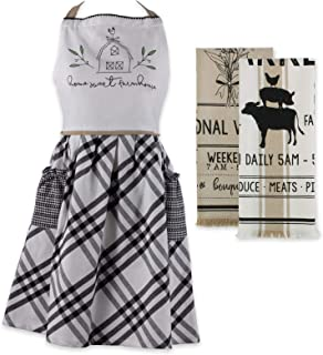 DII Home Sweet Farmhouse Kitchen Textiles Collection Stylish and Functional for Everyday Use, Apron/Dishtowel Set, Farm to...