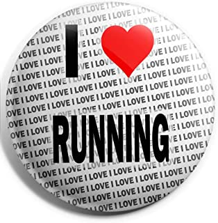 Grand badge à épingle « I Love Running » - 75 mm - Cadeau d'anniversaire - Noël - Cadeau