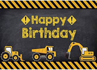 Allenjoy 7X5ft Construction Theme Birthday Party Backdrop Digger Excavator Dump Trucks Boy Kids Birthday Banner Decorations Supplies Photography Background Photobooth Props