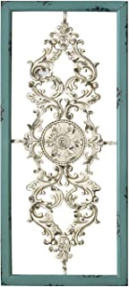 Stratton Home Decor SHD0121 Scroll Panel Wall Decor, 10.00 W X 1.50 D X 10.00 H Each, Teal/White