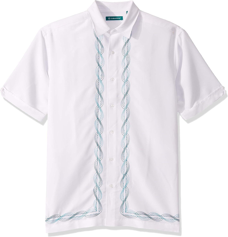 Cubavera Men's Two Tone Swirl L Shape Embroidery Shirt