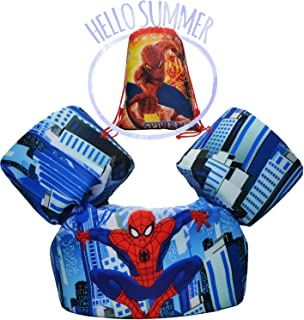 ANAN Baby Toddler Floats for Pool Swim Vest Life Jacket with Drawstring Shoulder Backpack Bags for Children 30~50lbs (Spiderman)