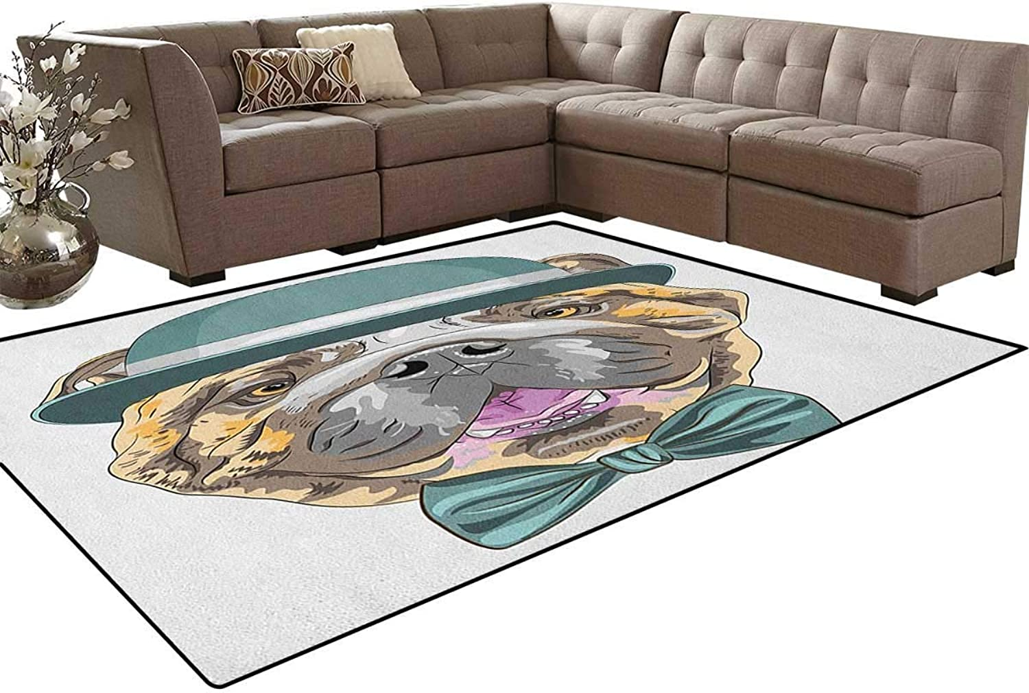 Dog in a Hat and Bow Tie Animal Design with Formal Attire Pure Breed Floor Mat Rug Indoor Front Door Kitchen and Living Room Bedroom Mats Rubber Non Slip