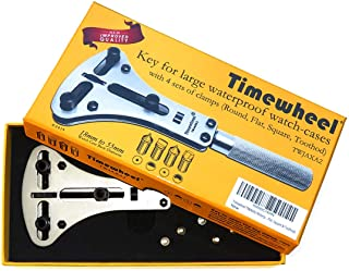 Timewheel TWJAXA2 Waterproof Watch Screw Case Back Opener Wrench for Large Watch With 4 Sets of Champs (Round, Flat, Square & Toothod)