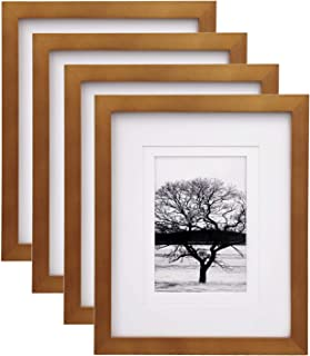 Egofine 8x10 Picture Frames 4 Pack, for Pictures 4x6 or 5x7 with Mat Made of Solid Wood for Table Top Display and Wall Mou...
