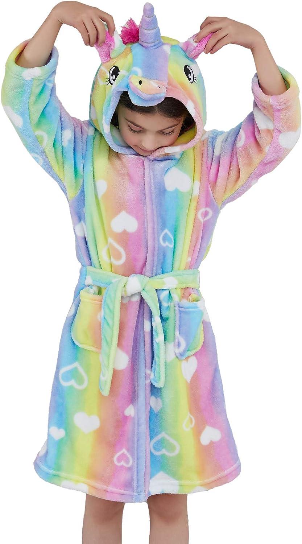 Bambini Ragazze Unicorno Accappatoio Cappuccio Arcobaleno Galaxy Natale Cosplay