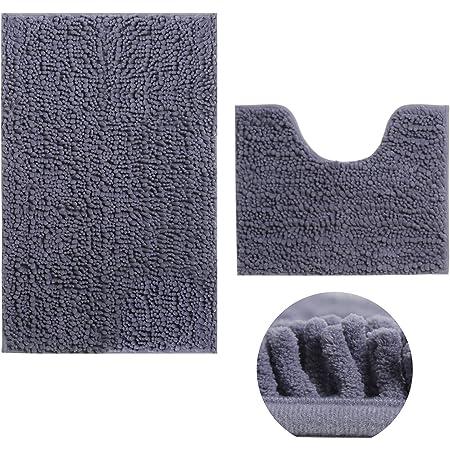 Rururug Set de 2 Tapis de Bain, Antidérapant à Poils Longs en Microfibre Chenille Tapis de Salle de Bain avec Tapis Contour de WC (50X80cm+50x40cm, Gris)
