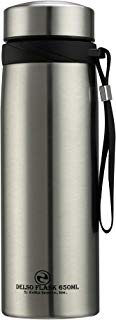 Delso Flask Stainless Steel Water Bottle Double Wall Vacuum Insulated BPA Free Multipurpose Design for Indoor Outdoor Sports Home School Office Camping Hiking | upto24 Hours Temperature Control |