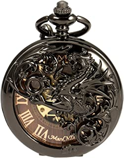 ManChDa Mens Skeleton Mechanical Pocket Watch Dragon Hollow Double Hunter ManChDa Burlywood Dial