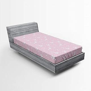 ABAKUHAUS Papillon Drap-Housse, Soft Pink Floral, Pochette Élastique Tout Confort pour Literie en Tissu Décoratif, 90 x 20...