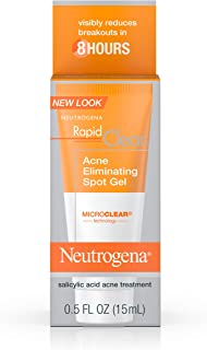 Neutrogena Rapid Clear Acne Eliminating Spot Treatment Gel with Witch Hazel and Salicylic Acid Acne Medicine for Acne-Prone Skin, 0.5 fl. oz (Pack of 2)